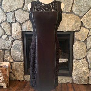 Calvin Klein Black Lace & Faux Leather Trim Dress